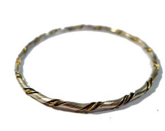 Vintage Sterling Silver & Gold Filled Twisted Bangle #2390