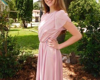 Vintage 80's Ruffled Office Fashion Dress