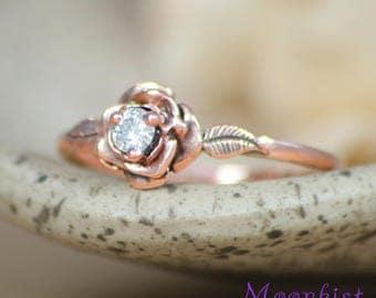 Rose Gold Blossom Engagement Ring - 14 K Rose Engagement Ring - Conflict Free Diamond Engagement Ring- Vintage-Inspired Flower Proposal Ring