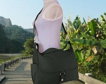On Sale 20% off black messenger bag, shoulder bag for girls, school bag, diaper bag