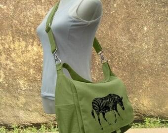On Sale 20% off Screen print messenger bag, red canvas shoulder bag, diaper pag, school bag for students