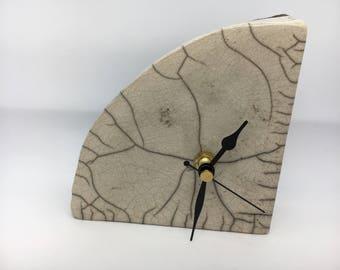 Handbuilt Ceramic Clock with Raku Fired Glaze (Rocking)
