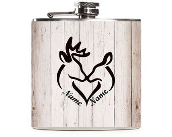 Personalized Deer Flask, His and Hers Wedding Couple Gift, Hunting Gifts, White Wood, Custom 6oz Stainless Steel Flask