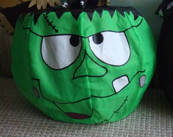 Vintage Halloween Frankenstein Pail. Fabric, Paint and Wire. Collapsible.