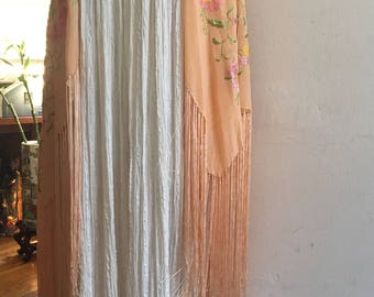 Amazing Embroidered Silk Shawl with Long Fringe from the 20's