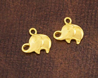 2 of 925 Sterling Silver 24k Gold Vermeil Style Elephant Charms 8x12 mm.  :vm0996