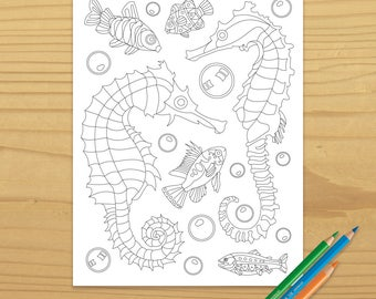 Seahorse Coloring Page, Sea Horse Coloring Page, Fish Coloring Page, Ocean Coloring, Beach Coloring, Aquarium Coloring, Digital Download
