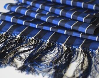 "Vintage Men's Rayon Fringed Stripe Muffler 1930s 40s 61"" x 12"" -OSB2-H-5"