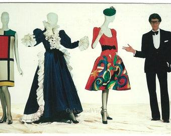 Yves Saint Laurent Vintage 1983 Postcard, Designer Dresses, Mondrian Matisse Picasso, Retro Fashion Ephemera, FREE SHIPPING