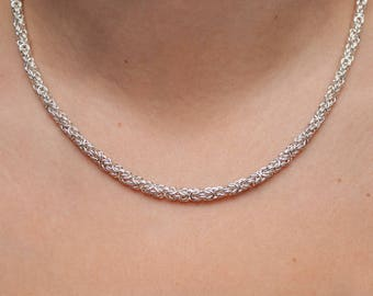 Chainmail Necklace, Byzantine Chain, Sterling Silver, Silver Gift for her, Chainmaille Necklace, Byzantine Necklace, Wifes Gift Silver
