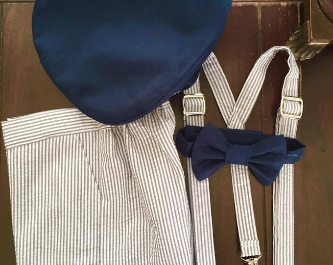 Ring Bearer Outfit, Custom Made Ring Bearer Newsboys hat, bow tie, suspenders and shorts handmade by TwoLCreations
