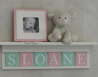 Personalized Baby Nursery Decor White or (Off White) Shelf with Letter Wooden Tiles Painted Mint and Light Pink