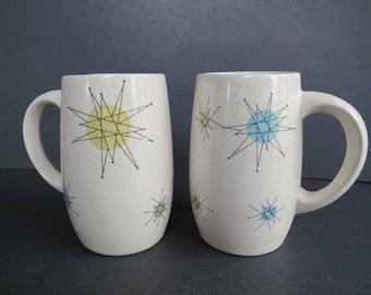 Vintage Franciscan Starburst Mugs Pair of Franciscan Ware Grand Mugs 1950s