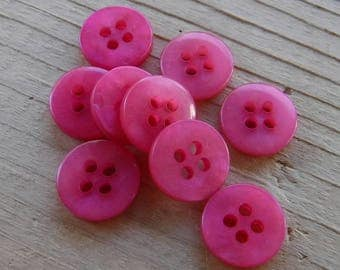 """10 Punch Pink Tinted Round Buttons Size 7/16""""."""