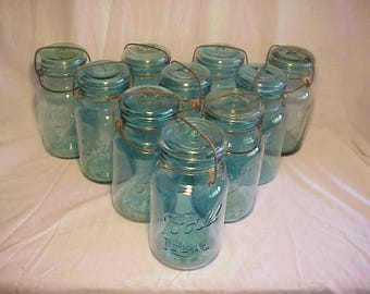 Group of Ten c1920s Ball Ideal, Ball Blue Quart Canning Fruit Jars , Great for Wedding Decor or Country Pimitive Decor No. 1