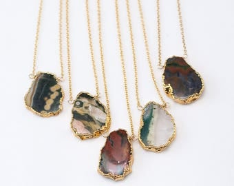 Ocean Jasper Gem Slice Necklace, Layered Necklaces, Electroformed Slice, Boho Choker, Gold Framed Stone, Natural Stone Pendant, Gift for Her