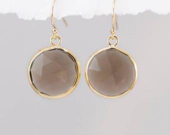 Smokey Quartz Earrings - Brown Quartz Earrings - Round Gemstone Earrings - Gold Earrings - Drop Earrings