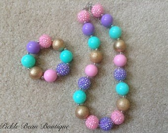 Mint and Gold Bubblegum Necklace and Bracelet, Chunky Baby Necklace, Girls Kids Necklace, Pink Lavender Bubble Gum, 1st Birthday Outfit