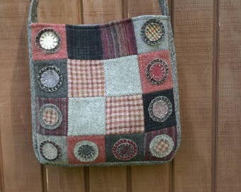 Wool patchwork crossbody bag, wool purse