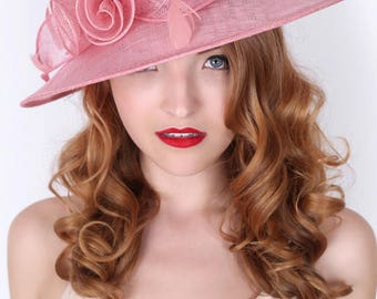 """Pink Sun Hat - """"Rosy Anne""""  Wide Brimmed Fascinator Sun Hat w/ mesh flowers and feathers"""