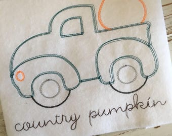 Vintage Truck Pumpkin Halloween Thanksgiving Fall Sketch Embroidery Design 5x7 6x10 8x8 8x12