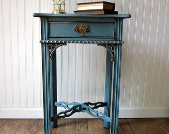 Vintage Ornate Nightstand~Dirty Turquoise Finish~ Bed Side Table ~ SHIPPING isn't included