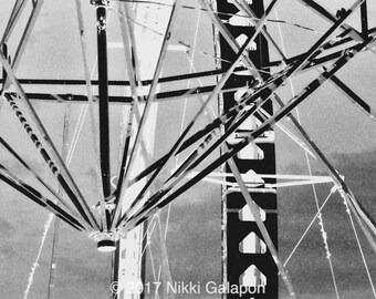 Amusement Park 2, Black and White Fine Art Photograph vintage monotone State Fair ride modern art photography