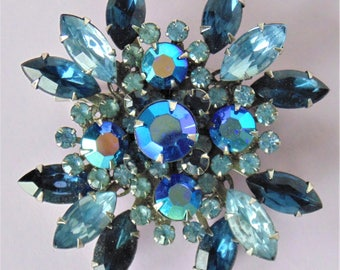 Shades Of Smokey Blues Floral Faceted Rhinestone Crystal Brooch