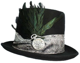 Black Felt Top Hat About Time Silver Gothic Steampunk Victorian Gentlemens Mens Dapper Cosplay