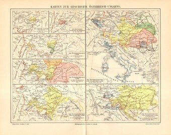 1905 Original Antique Historical Map of Austria and Hungary from Middle Ages