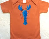 Orange Organic baby Clothes with Lobster Organic Cotton, fun onesie, Maine theme tee shirt, infant bodysuit or layette. beach baby clothes