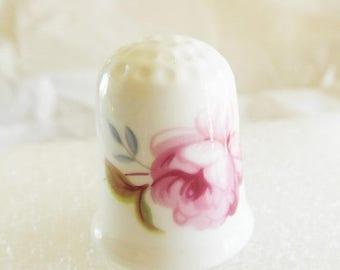 SALE Thimble Porcelain Rose flower Vintage COALPORT England Floral
