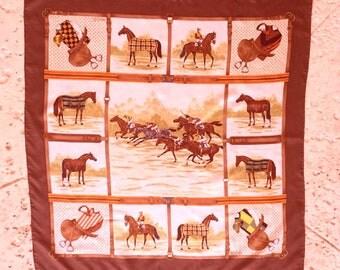 GUCCI Scarf Equestrian Horse Racing 90cm Silk
