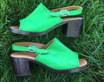 Funky 70's Electric Green Sling-backs Heels