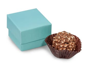 "Single Truffle Boxes Aqua (24 Pack) 1-5/8x1-5/8x1-1/4""  gifts, favors, wedding, events  2 Pc Box"