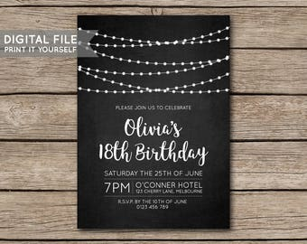 DIY Fairy Lights Chalkboard Birthday Party Invitation, Invite, 18th, 21st, 30th, 40th, 50th, Milestone - DIGITAL FILE - Print it yourself