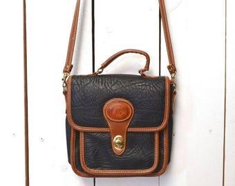 34% Off Sale - Cross Body Bag Early 90s Bag Two Tone Faux Leather Convertible Handbag Vintage Black Shoulder Bag