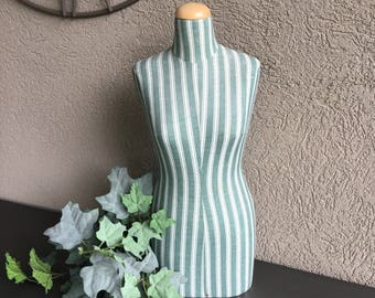 Tabletop Jewelry Mannequin Torso Vintage Bust Green White Striped Fabric - #J5000