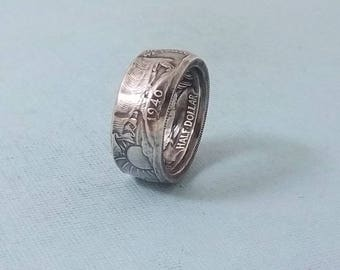 Silver coin ring walking liberty half dollar 90% fine silver jewelry year 1940 size 8 1/2
