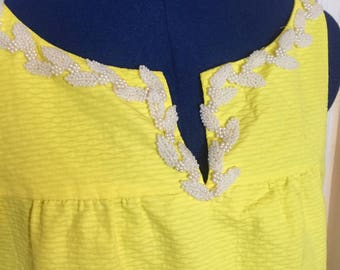 60s Mod Vintage Yellow Floral Pearl-Detailed Dress