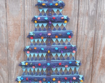 Vintage Blue/Turquoise String Woven Tapestry Christmas Tree Wall Hanging-Central America ?