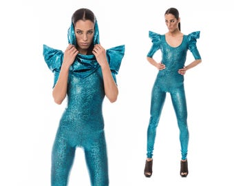 Signature Catsuit in Turquoise, Holographic Spandex, Burning Man Costume, Dance Bodysuit, Stage Wear, Festival Clothing, by LENA QUIST