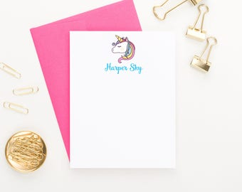 Unicorn Stationary, Unicorn Stationery Set, Unicorn note cards, Kids Thank you cards, Kids Thank you notes, Kids Note Cards KS064