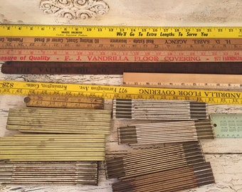 15 Vintage Wooden, Metal and Plastic Rulers and Yardsticks - Assorted Sizes and Styles