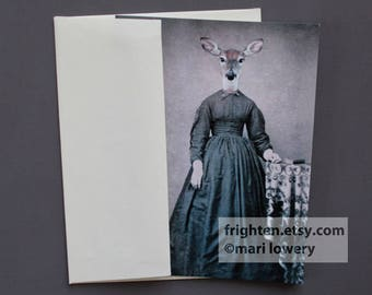 Deer Note Card, Eco-Friendly Animal Note Card with Envelope, Deer in Dress, Doe Art,Animal in Clothes Card, Oddities