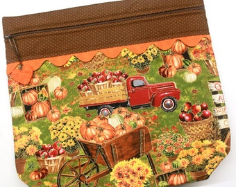 MORE2LUV  Fall in the Pumpkin Patch Cross Stitch Embroidery Project Bag