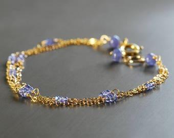 Tanzanite Bracelet by Agusha. Dainty Gemstone Bracelet. Delicate Tanzanite Bracelet