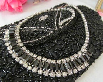 Vintage Choker Necklace Black Baguettes and Clear Rhinestones 15.5 inch