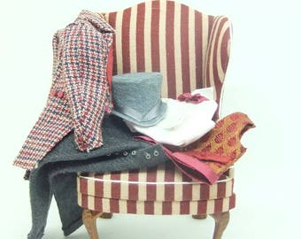 MINIATURE 1 12 SCALE DOLLHOUSE Gents Chair and Clothing