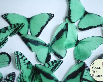 """20 green edible butterflies, wafer paper, 2"""" wide, for cake decorating, unique greenery wedding cupcake toppers, rustic woodland theme"""